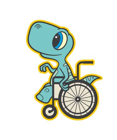 Vector colored sign sticker, baby dinosaur seat on wheelchair. Isolated on white background.