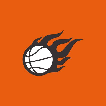 Vector simple flying basketball wit fire on orange background. 일러스트