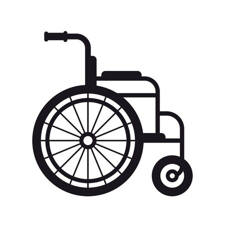 Vector black wheelchair line icon. Isolated on white background.