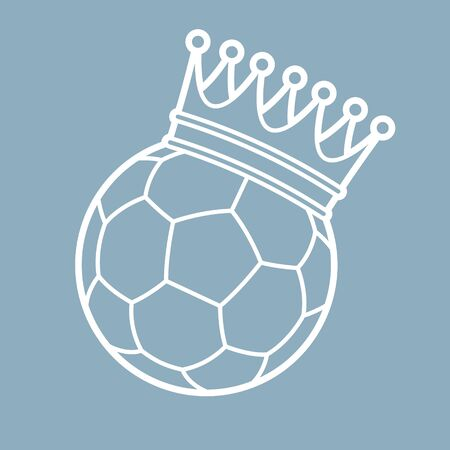 Vector line football with royal crown. Blue background Illustration