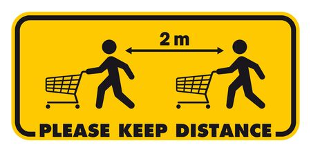 Vector yellow warning sign with pictures of shopping people. Text: Please keep distance 2m. Isolated on white background