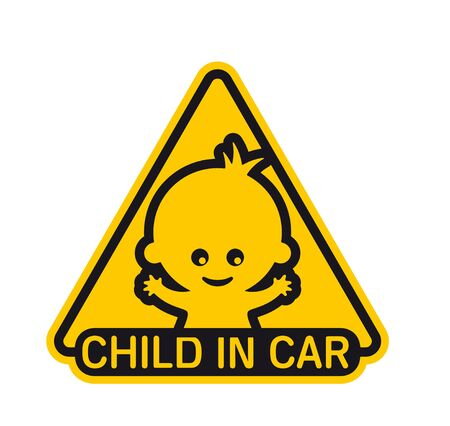 Vector yellow triangle sign with baby and text - Child in car. Isolated white background.  イラスト・ベクター素材