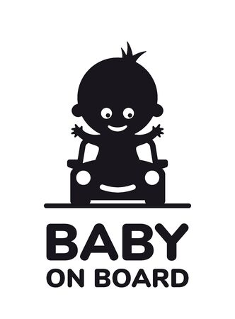 Vector black sign little boy in car with inscription Girl on board. Isolated on white background