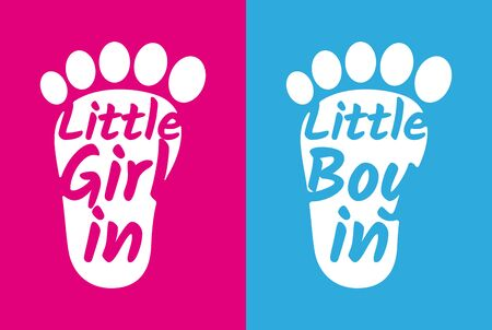 Vector sticker child footprint pink and blue with text: Girl in car. Boy in car.