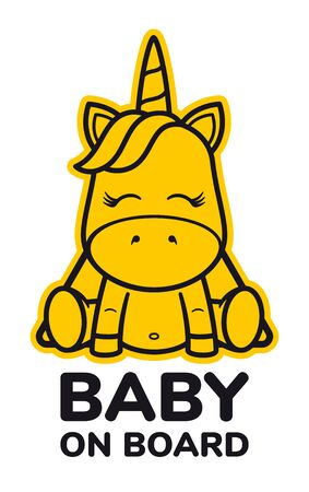 Vector yellow triangle sign sticker baby unicorn with text BABY ON BOARD. Isolated on white background.