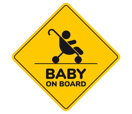 Vector yellow sign with silhouette of baby in stroller and text - Baby on board. Isolated white background.  イラスト・ベクター素材