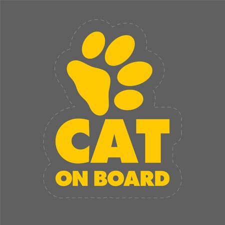The inscription cat on board concept with paw print