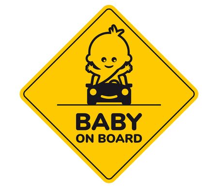 Yellow sign with inscription Baby on board and a picture of a baby in a car