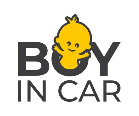 Vector car sticker with a text - Boy in car. Picture baby and text.  イラスト・ベクター素材