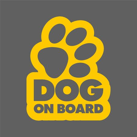 The inscription dog on board concept with paw print