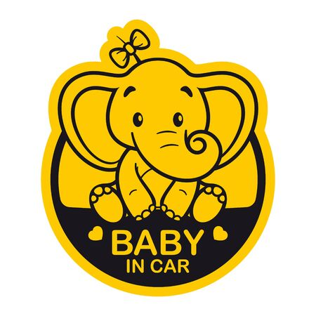 Vector yellow circle sign with little sweet cartoon girl elephant and text - Baby in car. Isolated white background.  イラスト・ベクター素材