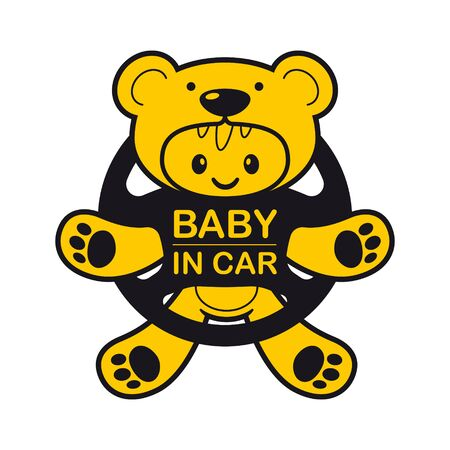 Vector graphics. Baby dressed as a teddy bear on the steering wheel. Isolated white background.  イラスト・ベクター素材