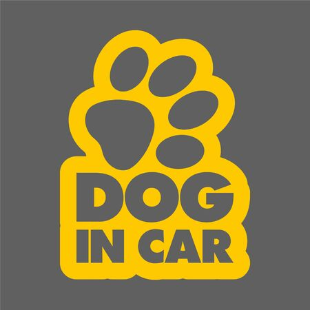 The inscription dog in car concept with paw print