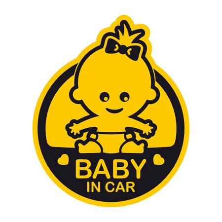 Vector yellow circle sign with baby and text - Baby in car. Isolated white background. Vector Illustration