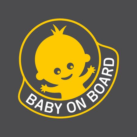 Vector yellow circle sign with waving baby and text - Baby on board.  イラスト・ベクター素材