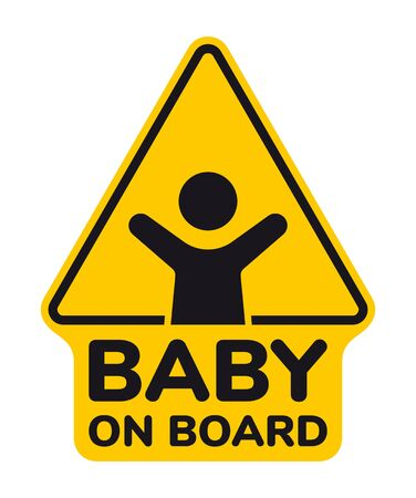 Vector yellow triangle sign with waving baby and text - Baby on board. Isolated white background.