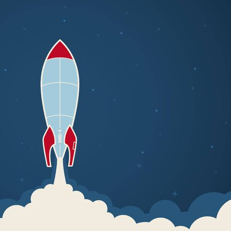 Vector start a space rocket at night. Blue background. Template.