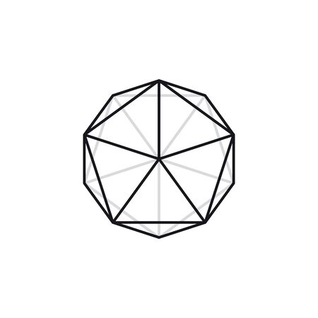 Vector geometric black line polygon. icosahedron. Isolated on white background.