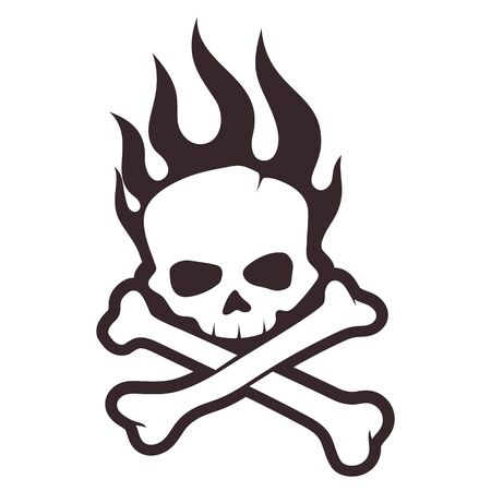 Skull and crossbones with flames. Isolated on a white background.