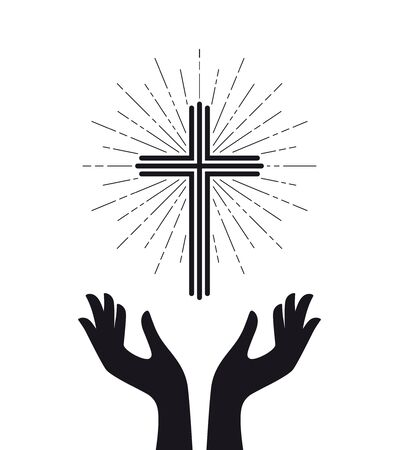 Vector logo church, catholic christian glowing cross with hands. Isolated on white background.