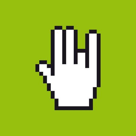 Vector pixel cursor hand icon in gestures. Green background.