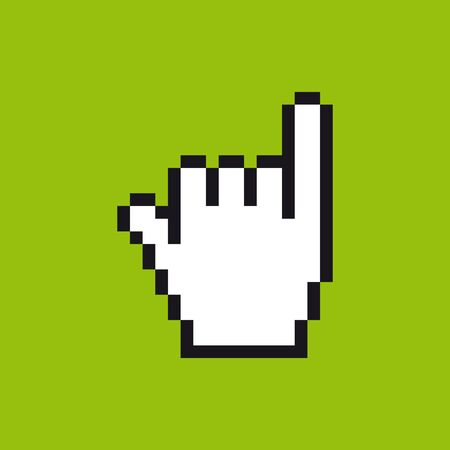Vector pixel cursor hand icon in gestures meaning in western cultures of call. Green background.