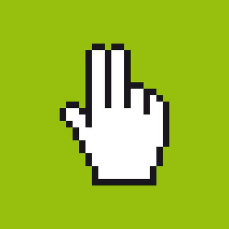 Vector pixel cursor hand icon in gestures meaning in western cultures of gun. Green background.