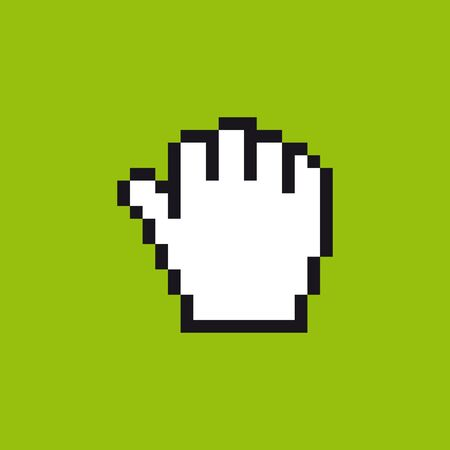 Vector pixel cursor hand icon in gestures meaning in western cultures of OK. Green background.