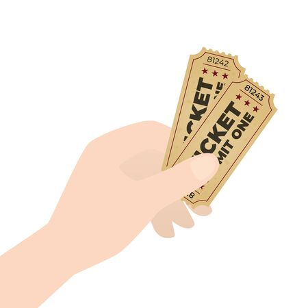 Vector creative concept hand holding retro paper cinema ticket. Isolatedn on white background.