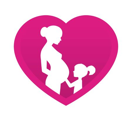 Vector pink heart with silhouette of pregnant mom and little daughter. Isolated on white background