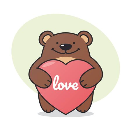 Vector drawing of a teddy bear holding a heart with the inscription Love. Isolated on white background. 向量圖像