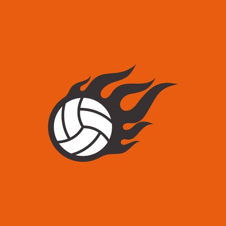 Vector simple flying basketball wit fire on orange background