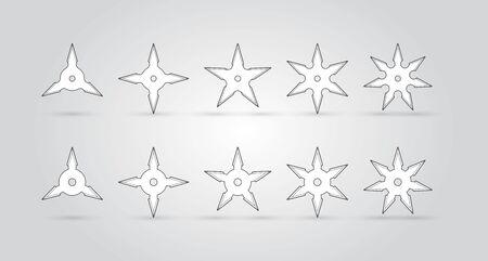 Various types of vector ninja throwing stars
