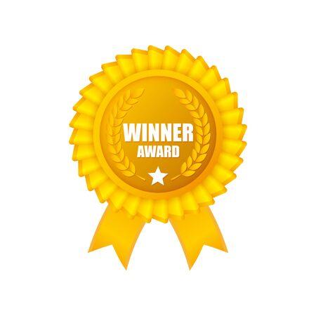 Prix du gagnant des médailles vectorielles. Rosette gagnante avec rubans et laurier. Isolé sur fond blanc. Vecteurs