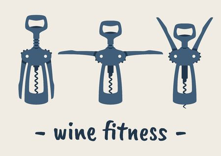 Vector different positions of corkscrew. Wine Fitness.