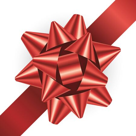 Vector realistic red ribbon isolated on white background Vektorové ilustrace
