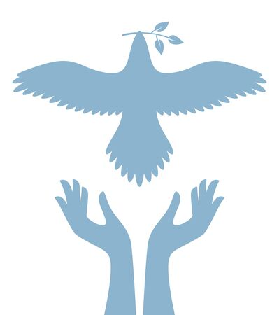 Vector blue symbol helping hands holding flying dove with twig. Isolated on white background.