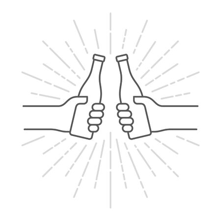 Vector black line icon two hands holding a bottle. Isolated on white background.