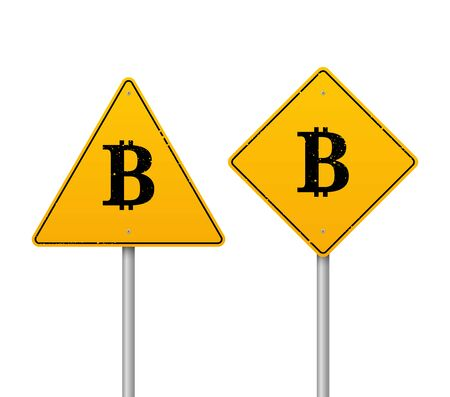 vector 3D realistic traffic sign with a bitcoin symbol