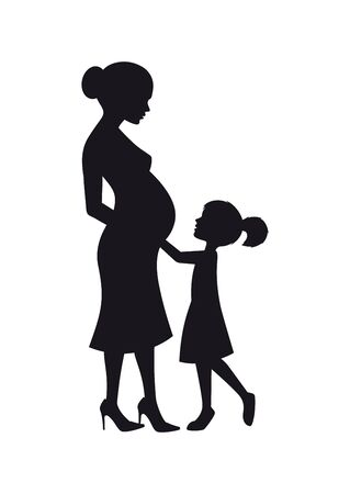 Vector black silhouette of pregnant mom and little daughter. Isolated on white background