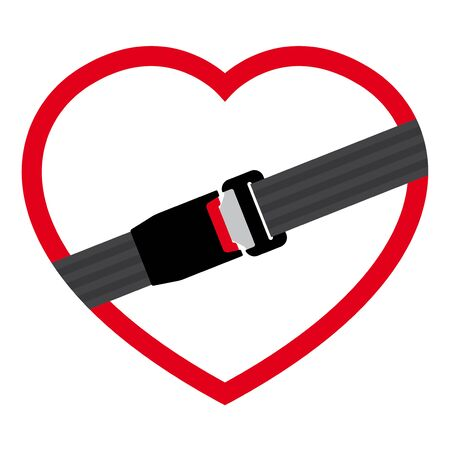 Vector heart icon with safety belt for protection - lock. Isolated on white background.  イラスト・ベクター素材