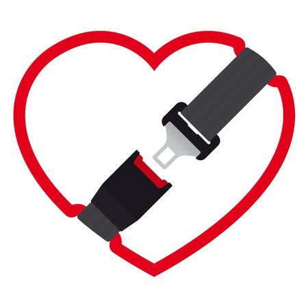 Vector heart icon with safety belt for protection - open. Isolated on white background.