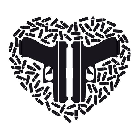Vector black icon heart made up of two weapons and scattered bullets. Isolated on white background.