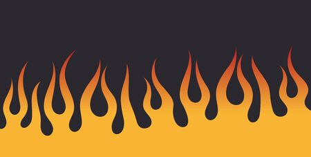 Vector yellow red flames on a dark gray background