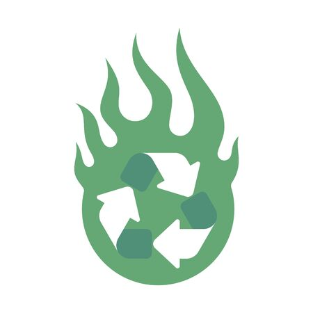 Vector green ecology icon in fire circle. Isolated on white background.