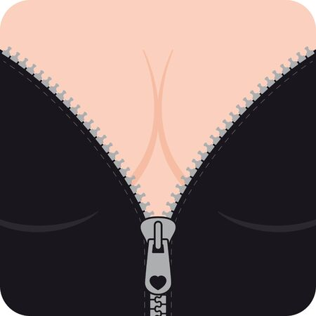 Woman decollete with black bra open zipper. Female girl closeup. Vektorové ilustrace