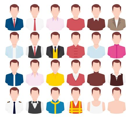 Colorful vector icons set of clothes men. Modern flat style design. Isolated on white background