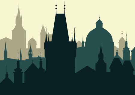 Vector silhouette of Prague - Landscape format