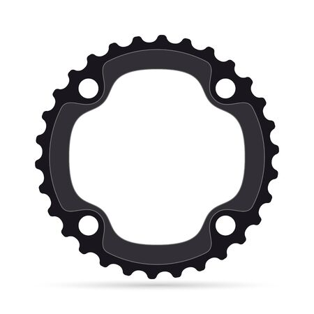 Vector realistic bicycle chainring on white background Ilustração