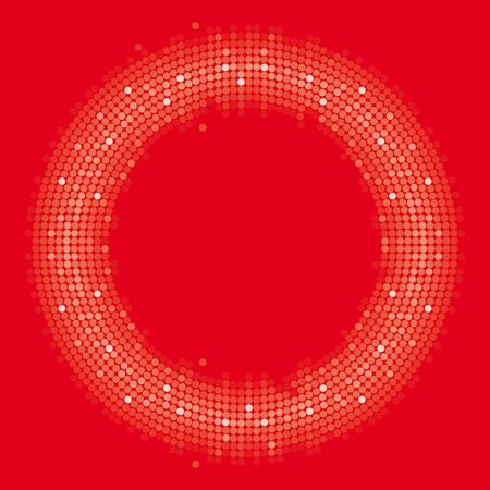 Vector colored circle formed by dots. Red background